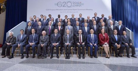 "Washington, D.C., April 15, 2016: G20 finance ministers and central bankers gave themselves a pat on the back, but also warned of ""downside risks and vulnerabilities"" (source: dpa)"