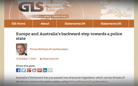Prince Michael of Liechtenstein: Europe and Australia's backward step